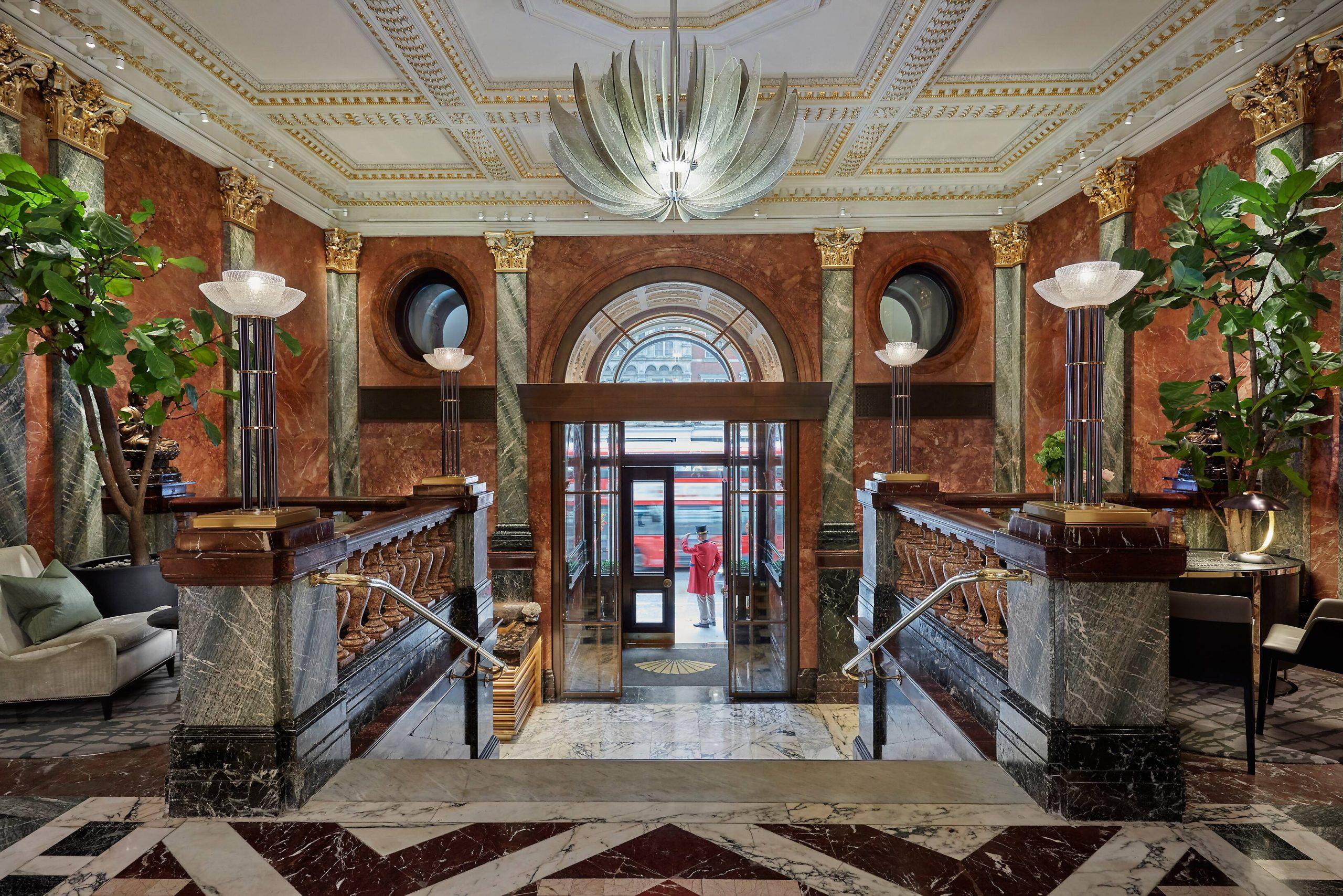 most beautiful hotels Mandarin Oriental Hyde Park, London marble lobby
