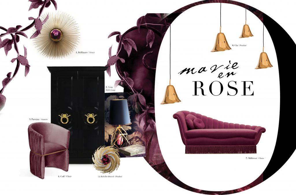 feminine decor vibes ma vie en rose koket luxury furniture moodboard