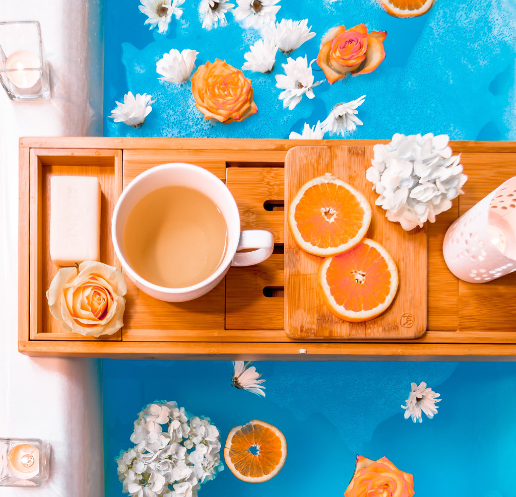 at home spa bath orange blue tea heidi kaden unsplash