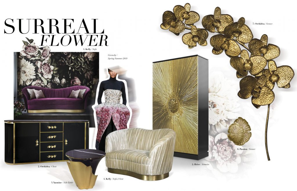surreal floral design orchids brass decor flowers koket