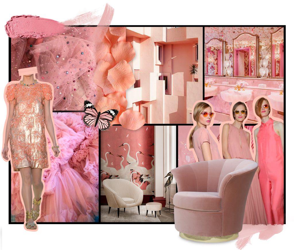 pink and peach moodboard feminine colors koket luxury decor