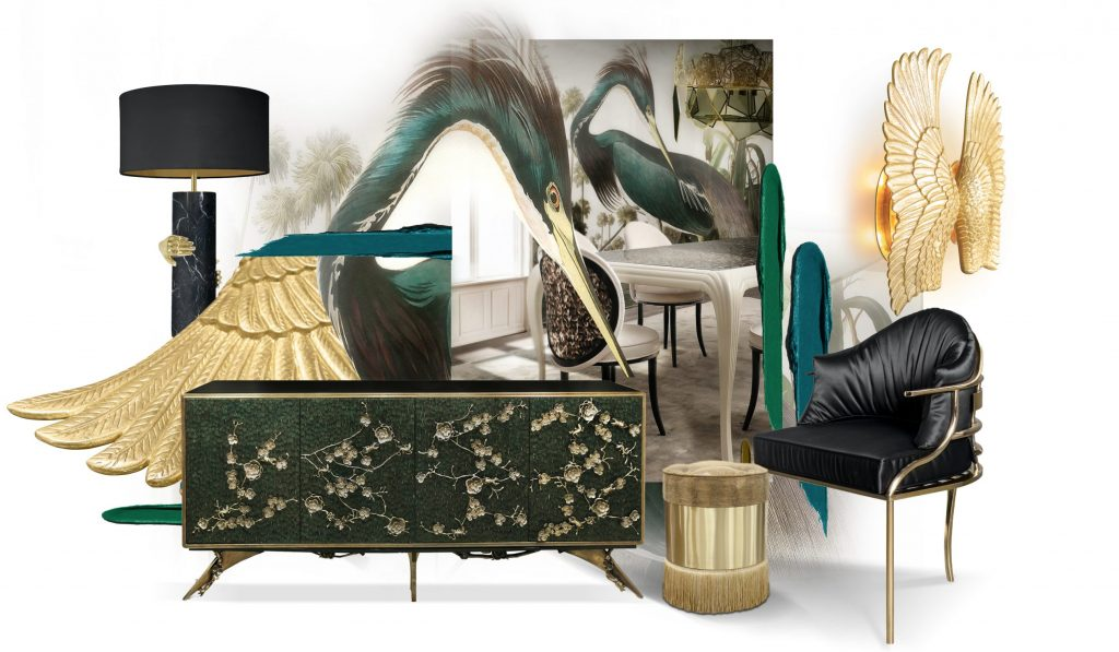 exotic tropical vibes koket feathered furniture and wallpaper