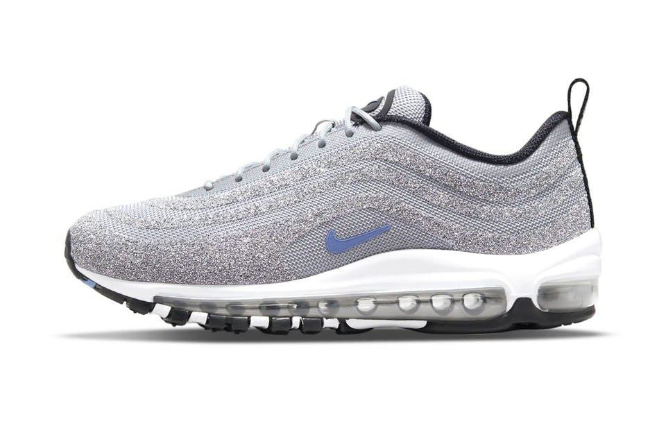 athleisure collaborations luxury brands Swarowski x Nike crystal bedazzled silver sneakers