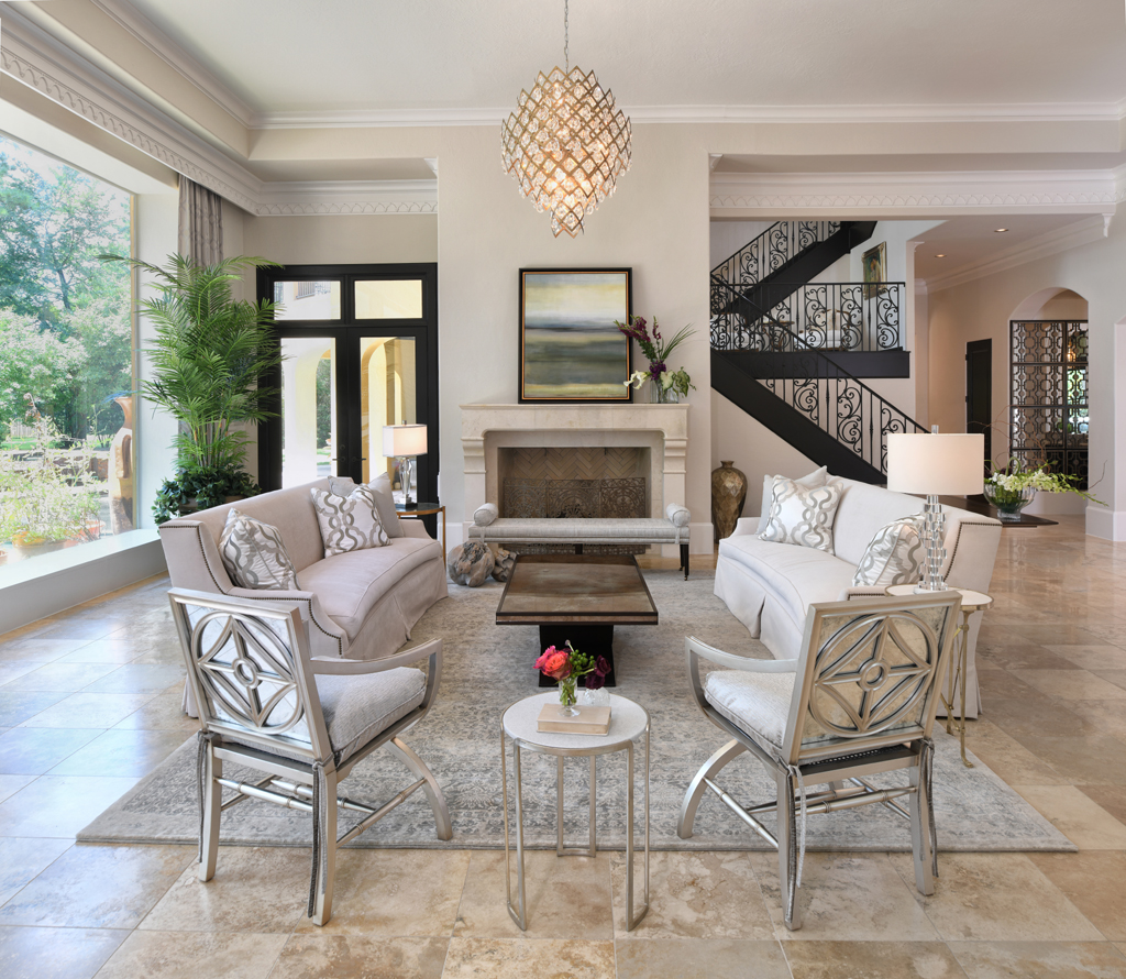 white and silver luxury living room interior Design by Charbonneau Interiors