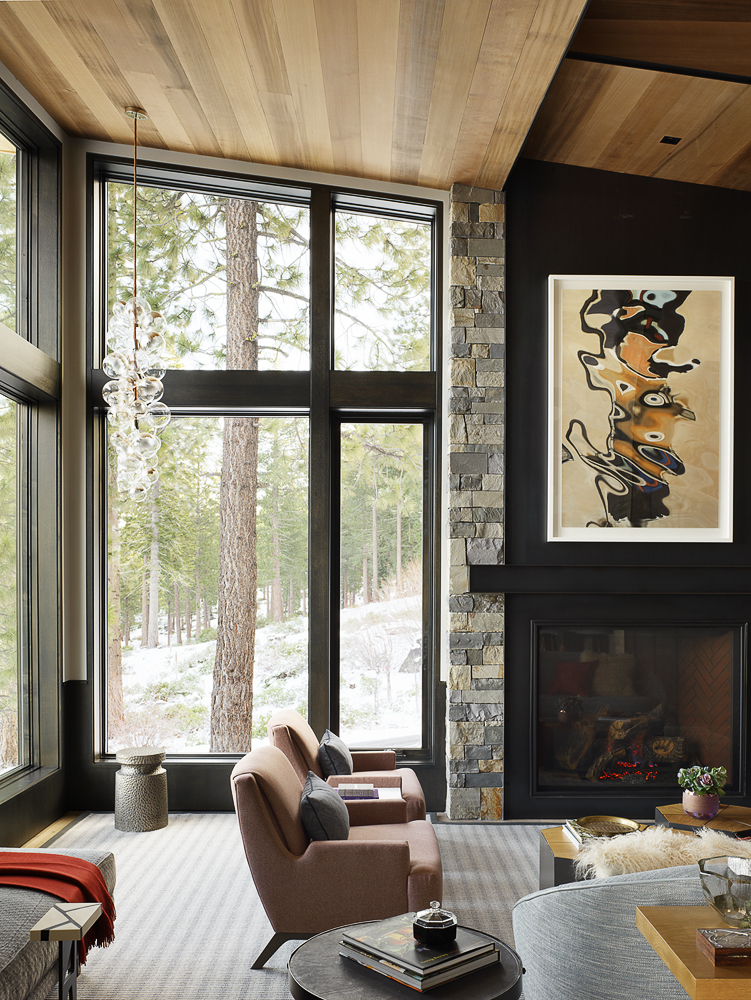 vacation home living room fireplace beautiful winter mountain cabin jay jeffer design