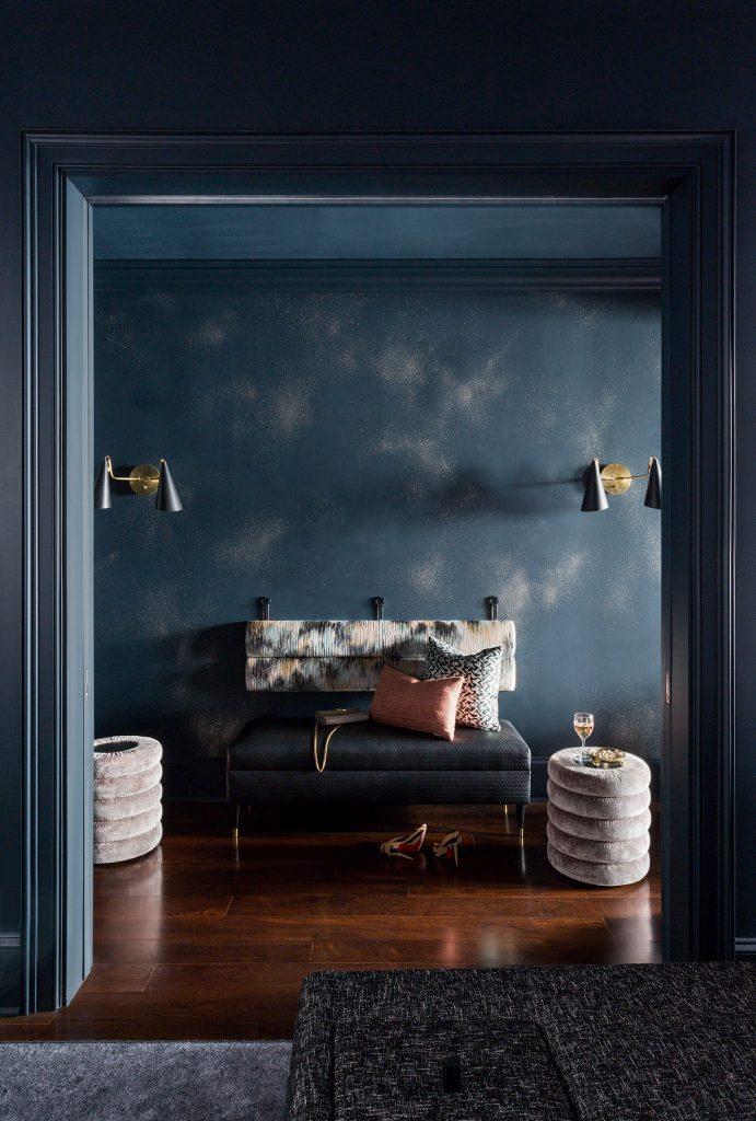 moody foyer interior design photography by Amy Bartlam. Interior by Jenn Feldman Designs.