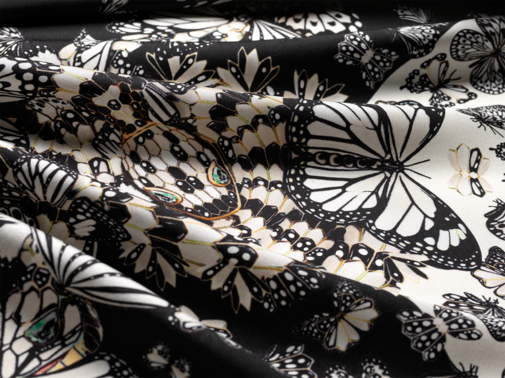 silk luxury scarf with snake and butterfly pattern black and white