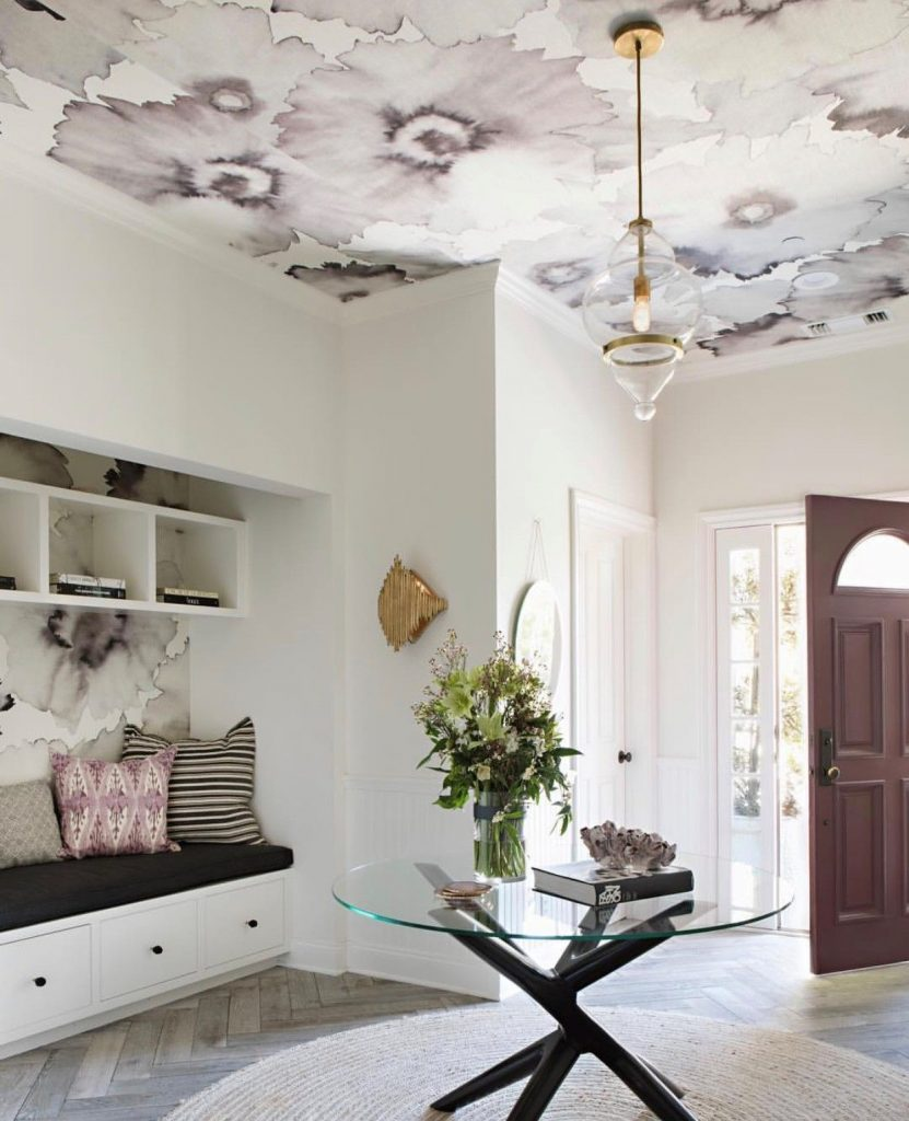 Bloom Wallpaper by Phillip Jefferies entry way design with center table wallpaper on ceiling