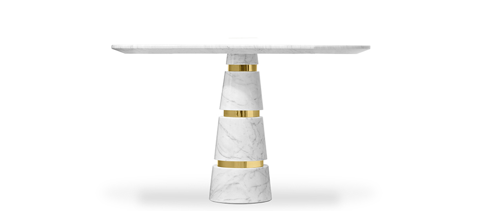 avalanche Carrera marble white and brass round dining table koket luxury furniture
