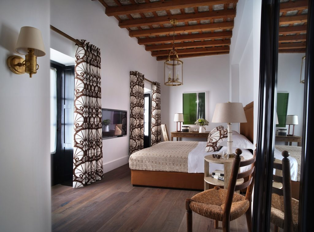 coastal tropical bedroom design, Plaza 18 hotel in Andalusia, Spain designed by Nicky Dobree