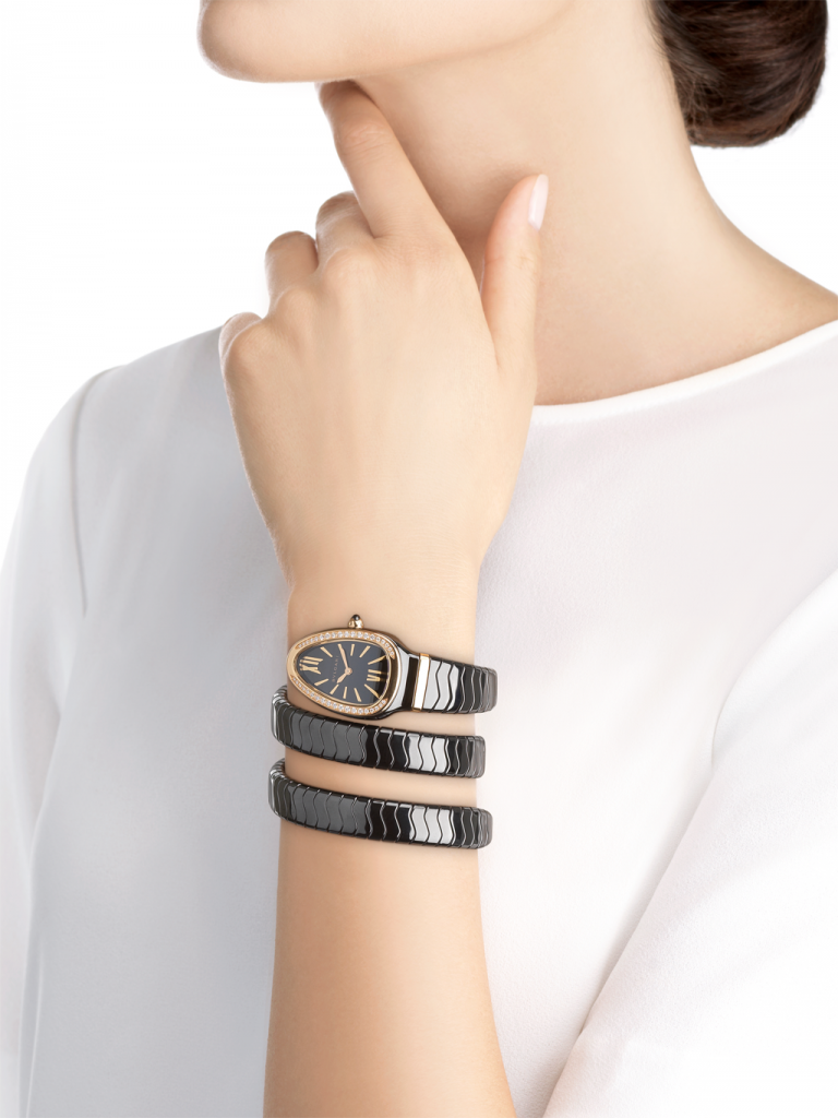 Serpenti Spiga watch by Bulgari black stylish mom gifts mothers day 2021 gift ideas