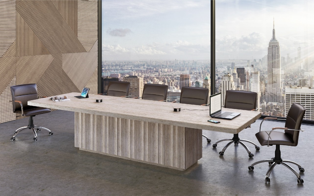 Travertine Purity Conference Table by The Davani Group