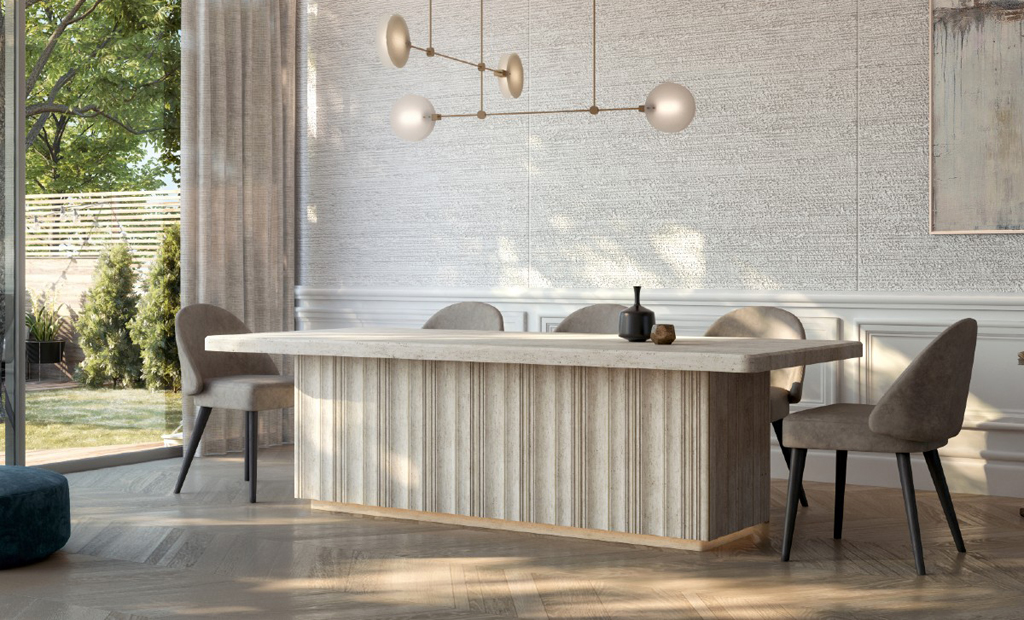 modern table design trends 2021 davani-purity-table-dining-room-recessed-lighting