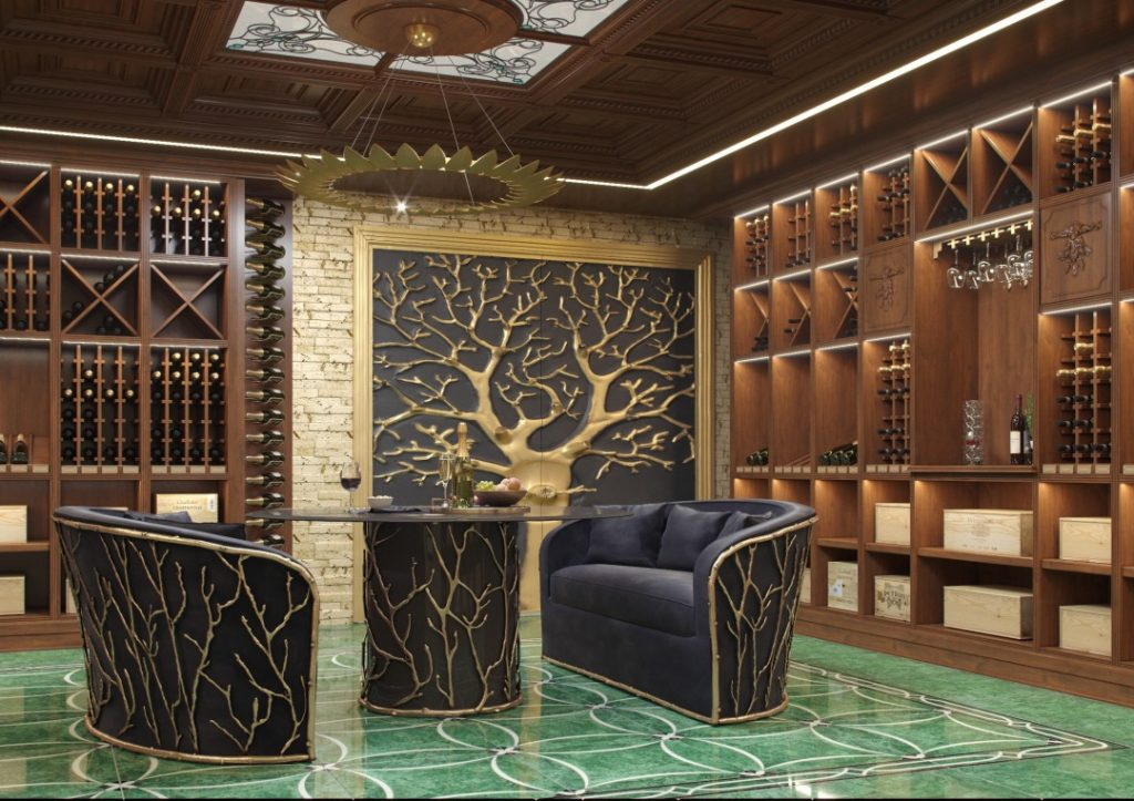 wine room cellar Interior by Valeria Mikheeva featuring a nature inspired dining table and sofas by KOKET