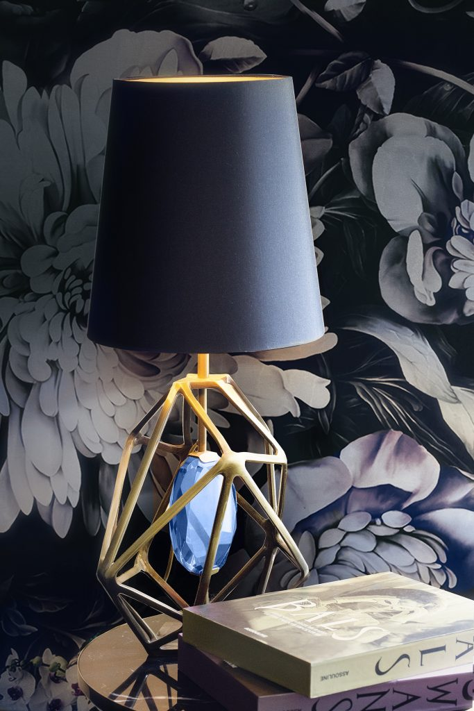 gem table lamp blue and gold koket luxury lighting statement lights