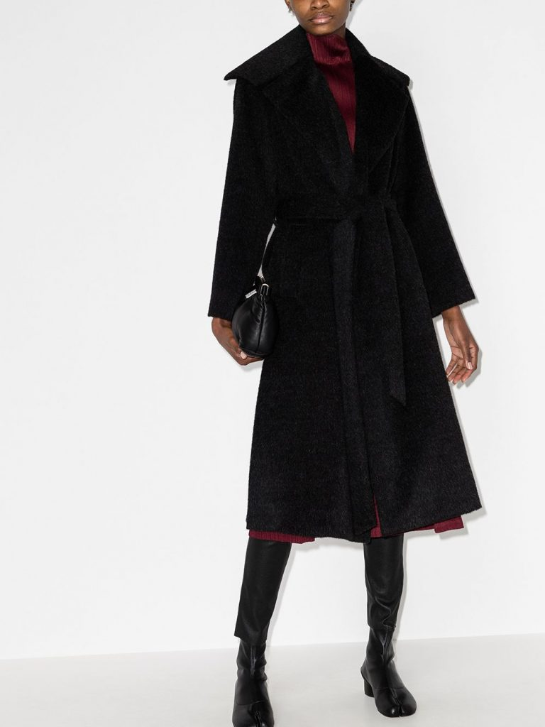 Issey Miyake Wide-Collar Belted Midi Coat alpaca swing coat farfetch stylish moms