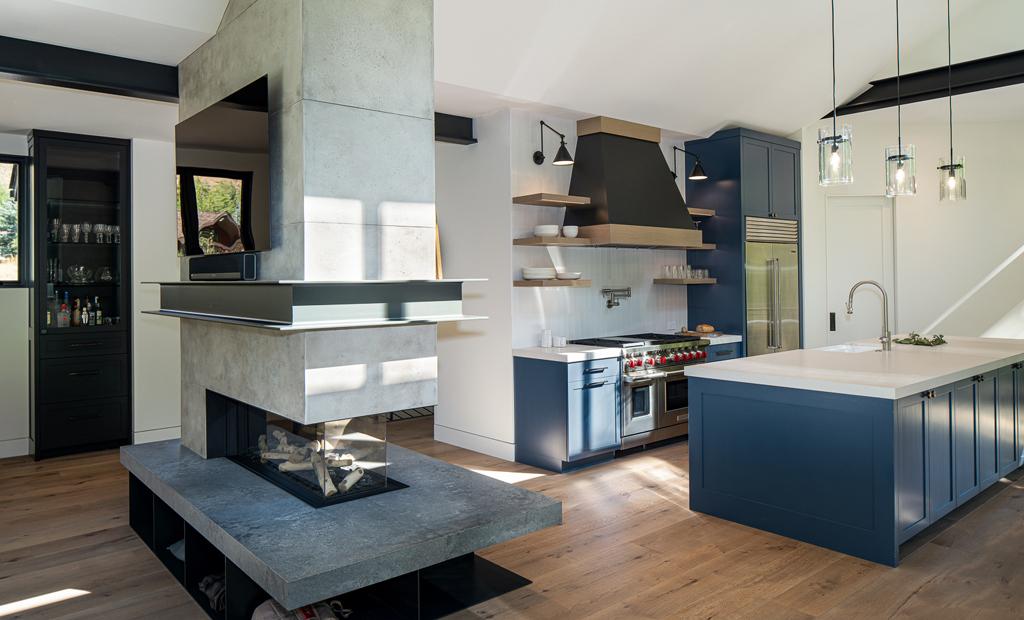 latham interiors kitchen blue grey mountain modern style