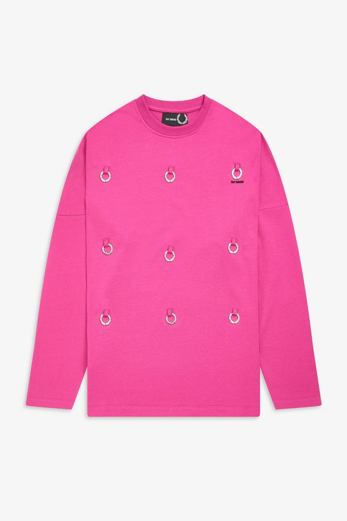 athleisure collaborations luxury brands Raf Simons x Fred Perry pink sweatshirt with bling