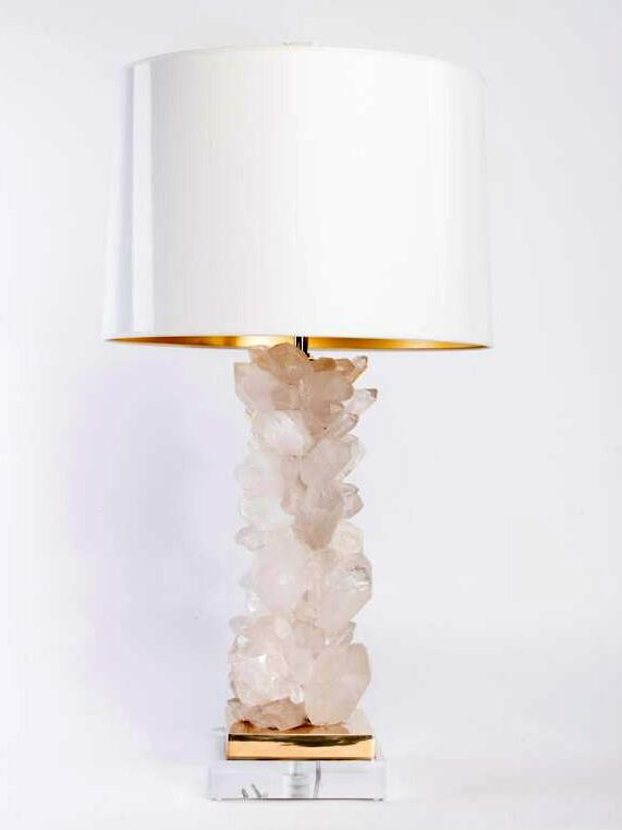 Quartz Table Lamp with white shade and gold base luxury lighting table lamps