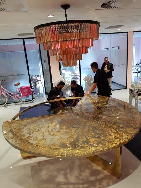 cocolea billionaire round table luxury furniture gold leaf acrylic crystal bespoke chandelier