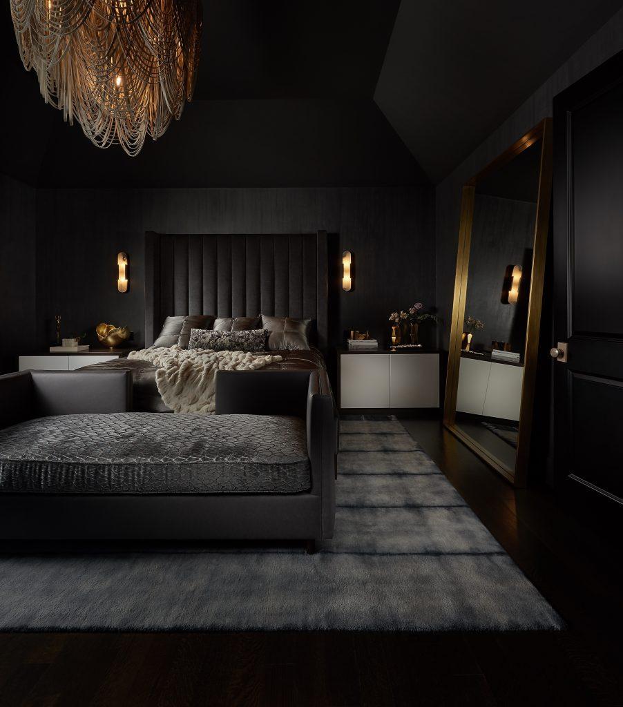 black and gold master bedroom modern interior design by brianne bishop glamour