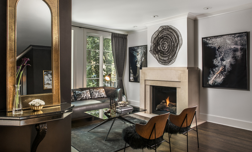 Brianne Bishop living room luxury interior design black and gold