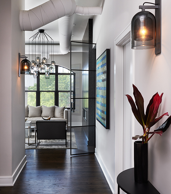 modern contemporary hall entry foyer living room interior design in black, white and gray