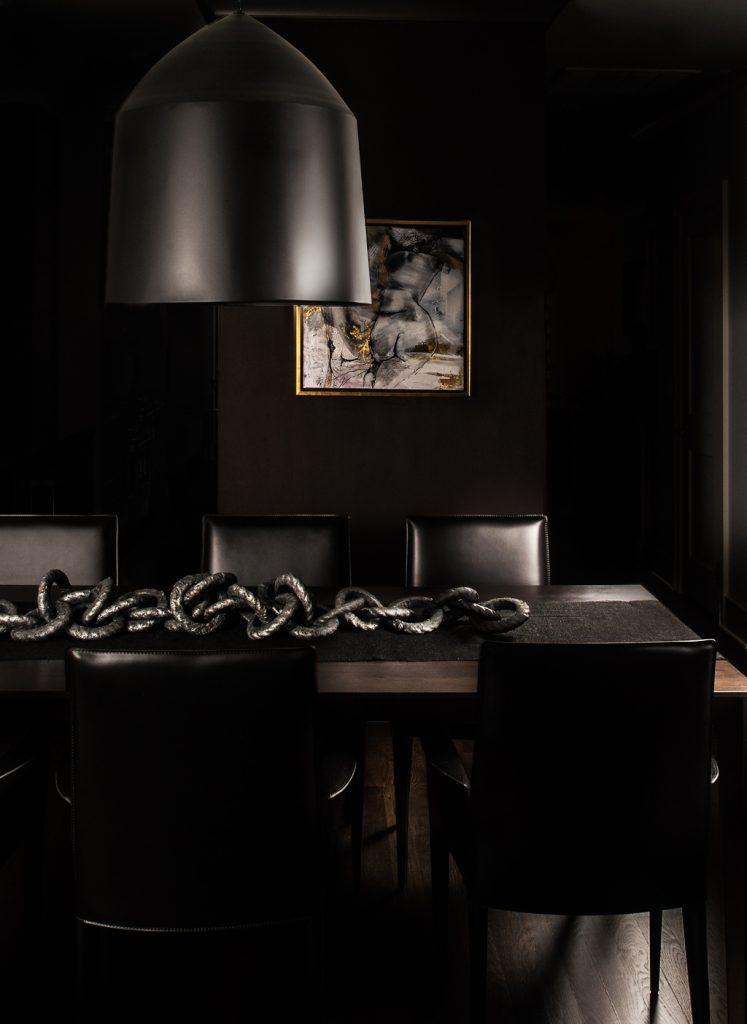 black dining room glamourous interior design by brianne bishop chicago modern luxury magazine cover