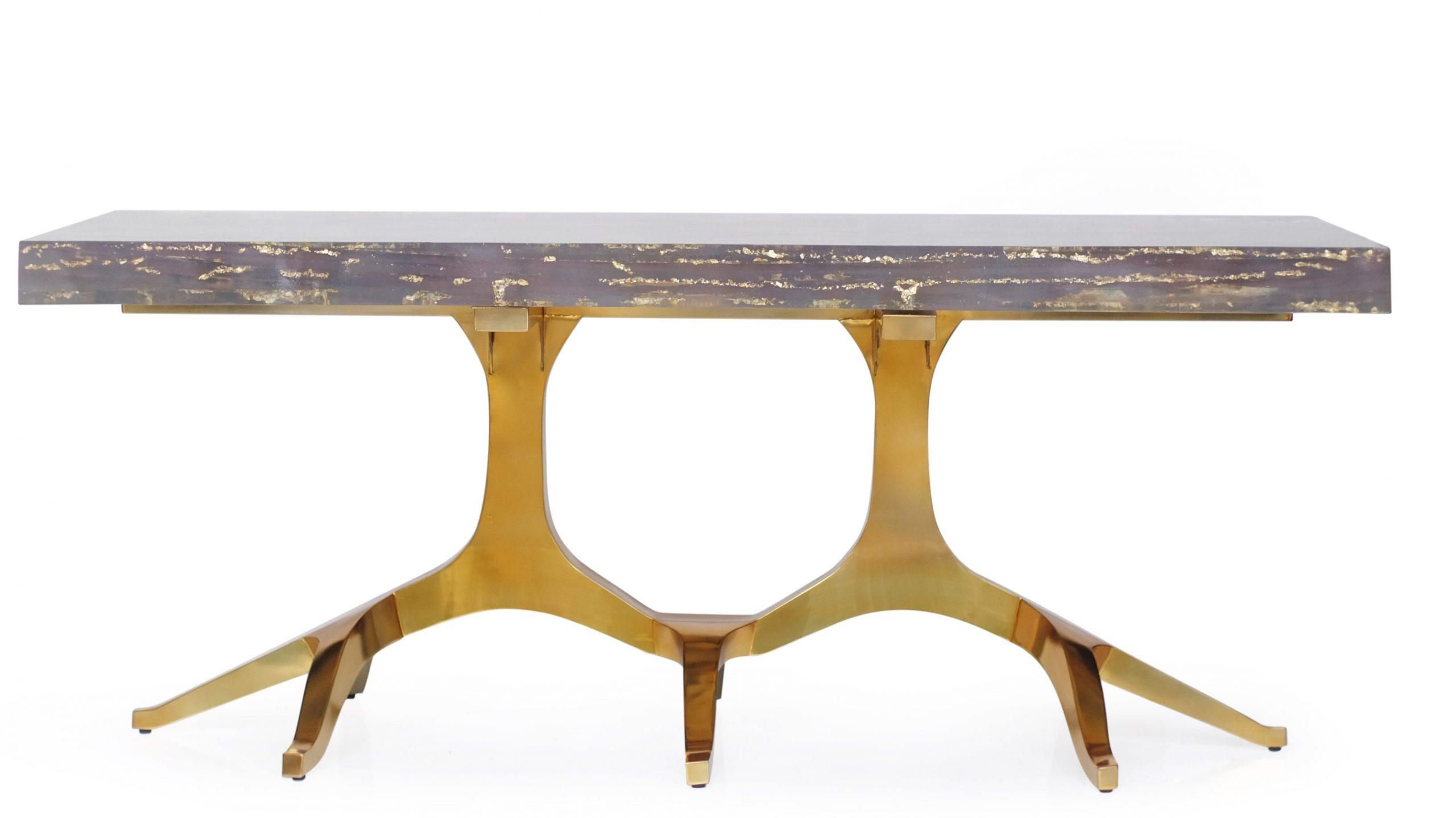 billionaire table cocolea gold leaf in acrylic luxury furniture australia