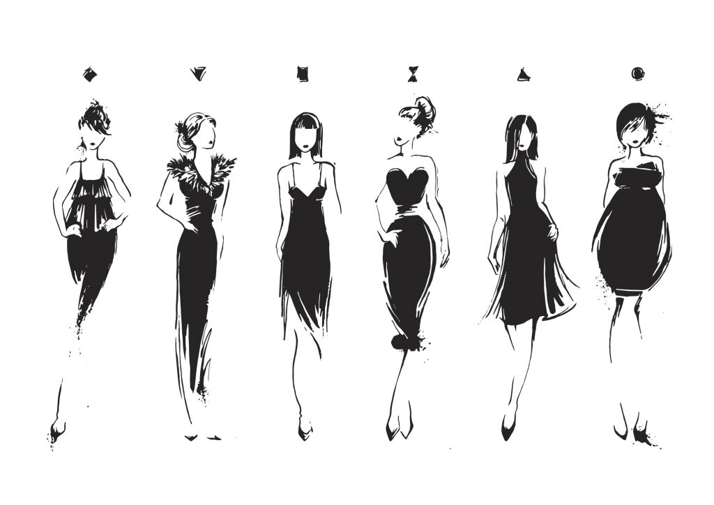 how to dress my body type - dressing your body type - fashion illustrations evening dresses dress styles