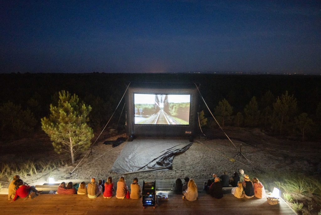 An outdoor film night at Melides Art