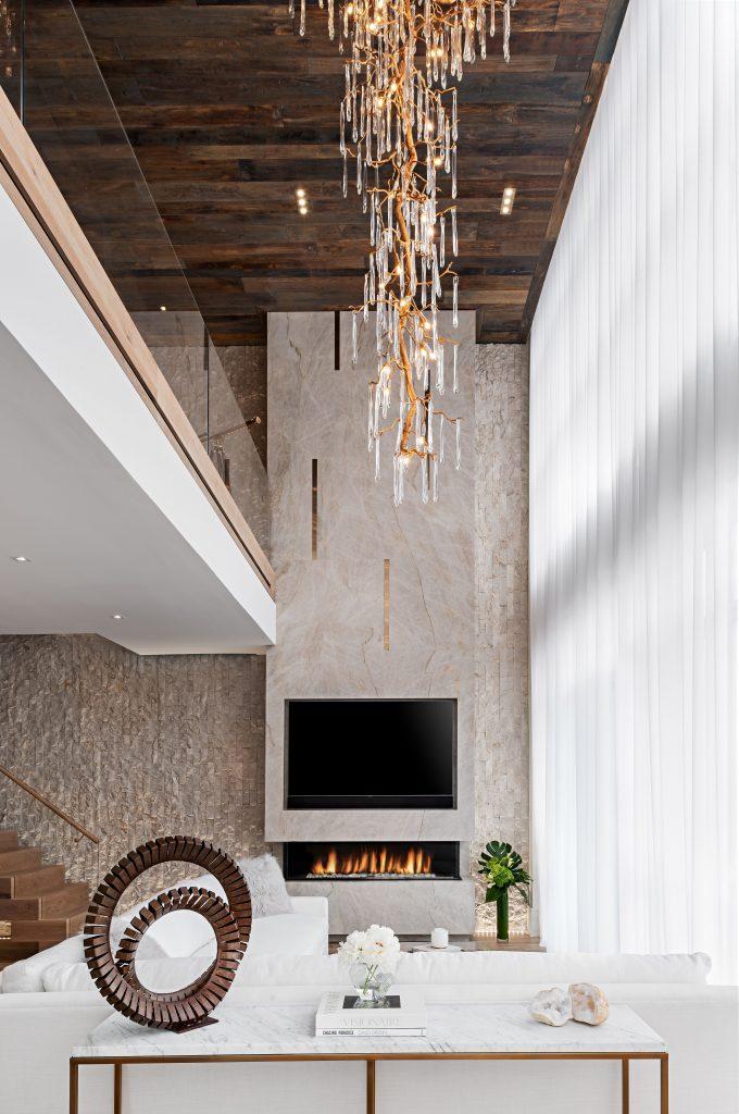 luxury neutral white living room Interior design by ONE X ONE DESIGN hilda mohseni modern lake house