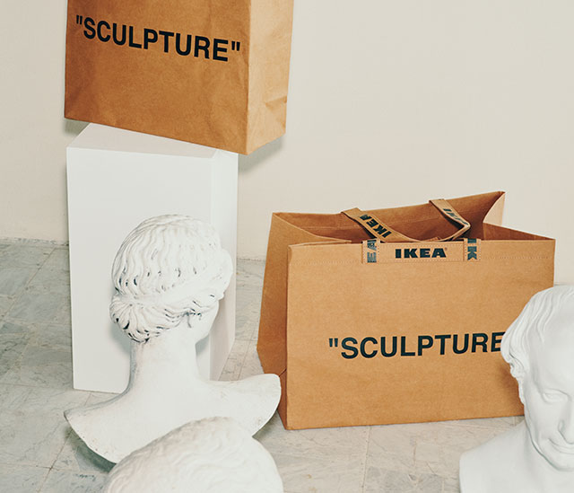 iconic brand collaborations ikea-x-off-white-bag