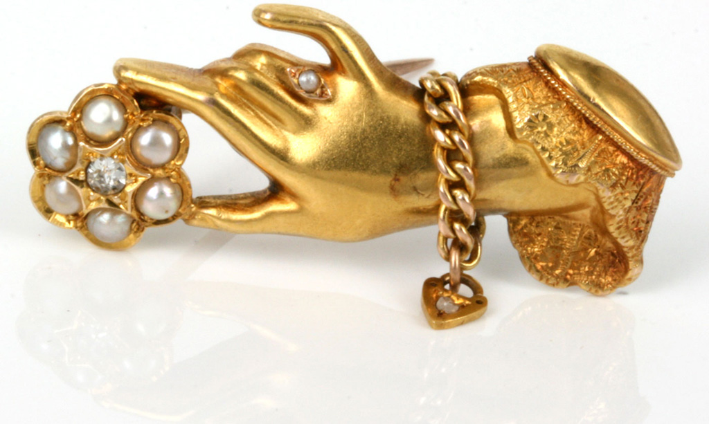 vintage jewelry victorian hand gold brooch