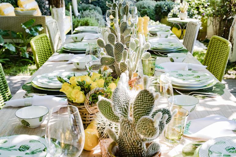 Tabletop by Sabrina Monte-Carlo, Villa Riviera (Photo by Yvan Grubski) cactus table setting green and white dinnerware