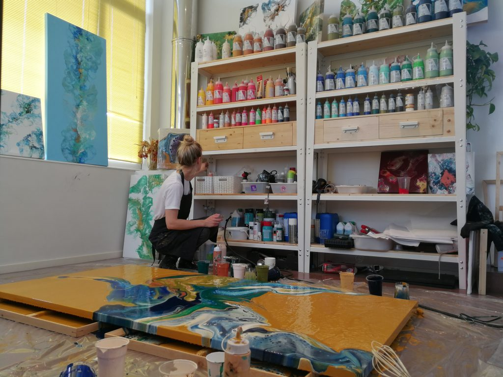 mrs. toolip at work acrylic pour painting empowered women empower