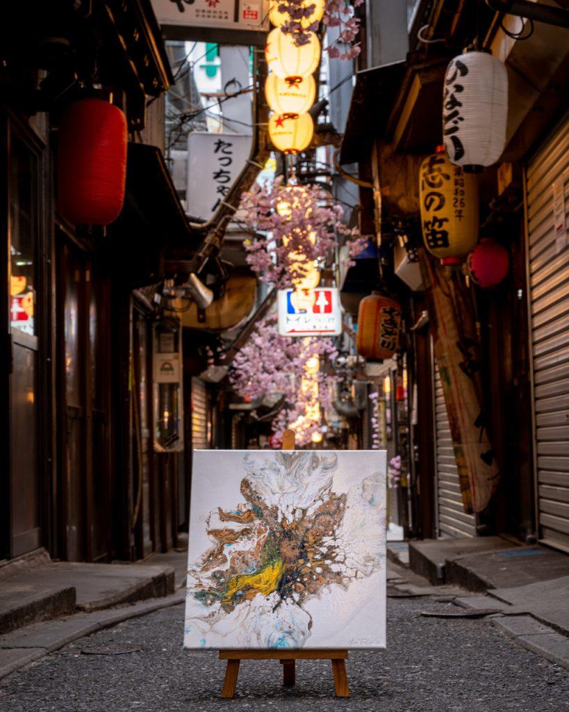 fluid acrylic art by mrs. toolip Japanese street