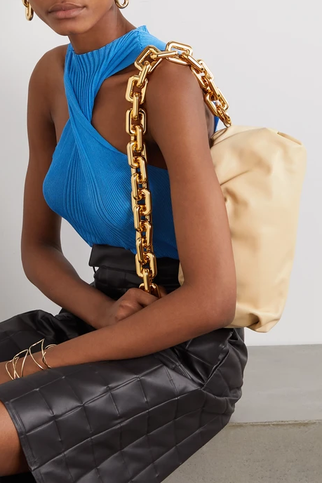 The Chain Pouch by Bottega Veneta available from Net-a-Porter color coordinated outfit