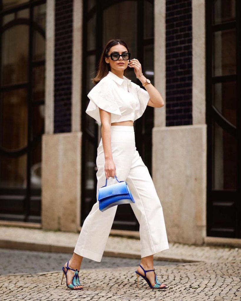 ines costa wearing white with freedom blue sandals by luis onofre color coordinate outfit