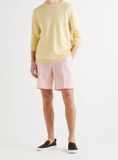 summer 2021 fashion trends men Wide-Leg Linen Bermuda Shorts pastel pink anderson & sheppard mr. porter