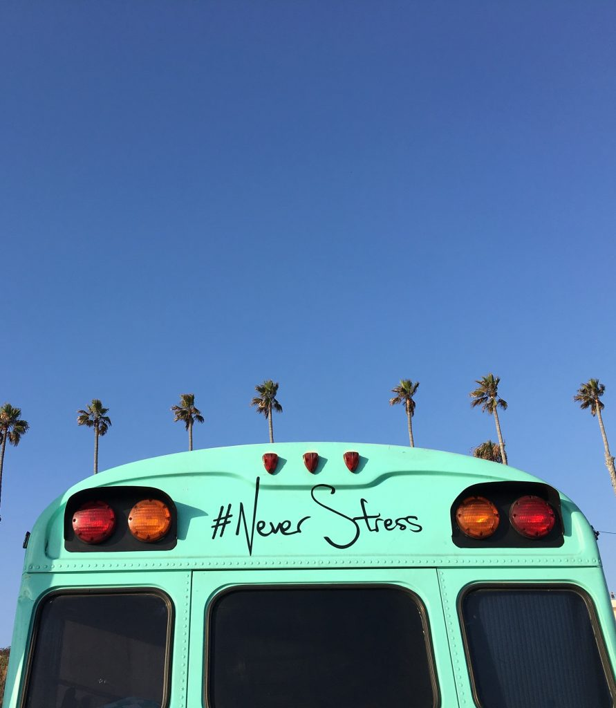 #neverstress teal bus combat stress and get your groove back - photo sharon wright unsplash