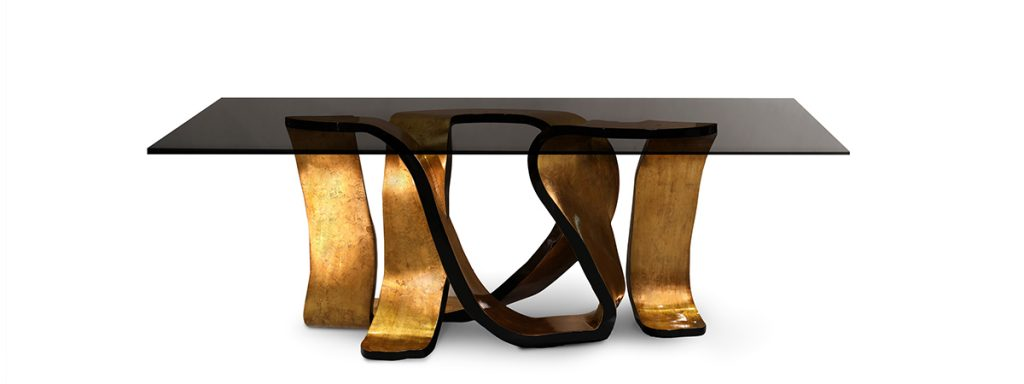 ribbon dining table gold leaf base with glass top koketglass top