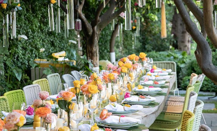 elegant outdoor garden party ideas table setting sabrina monte carlo green and yellow theme