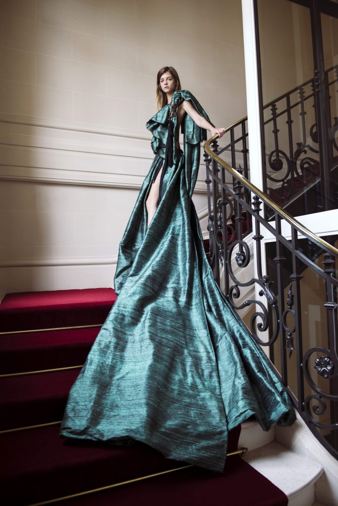 A model poses during the Aelis Haute Couture Fall/Winter 2021/2022 Presentation as part of Paris Fashion Week on July 08, 2021, in Paris, France. (Photo by Kristy Sparow/Getty Images)