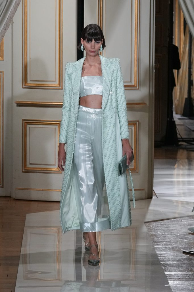 A model walks the runway during the Giorgio Armani Prive Couture Haute Couture Fall/Winter 2021/2022 show as part of Paris Fashion Week on July 06, 2021 in Paris, France. (Photo by Peter White/Getty Images)