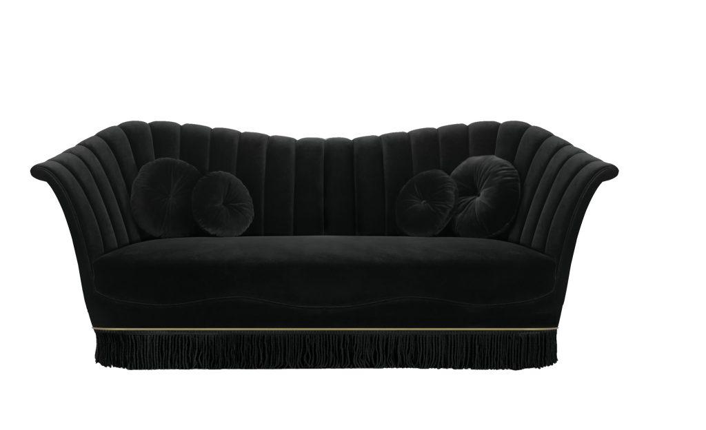 Caprichosa II Sofa koket black loveseat luxury upholstery fringe skirt