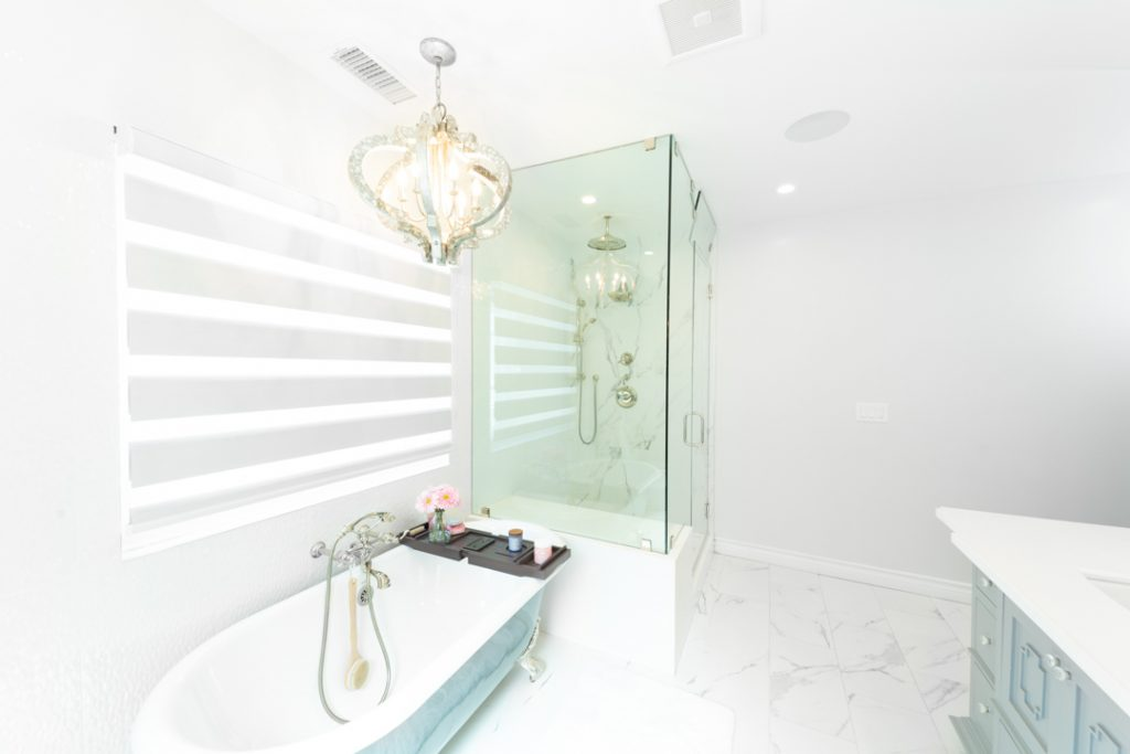 white glamorous bathroom with glass shower