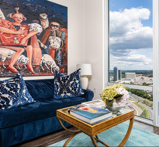 living room design blue and pink