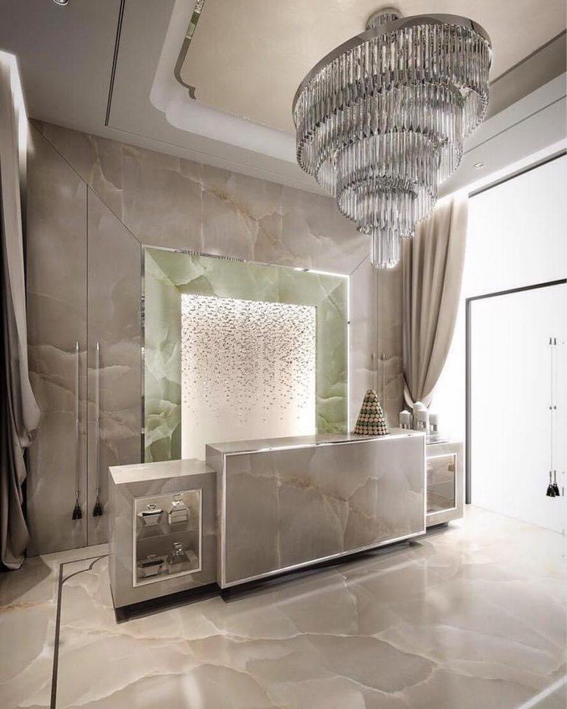 luxury reception area Dubai Beauty Salon designed by Caroline's Design