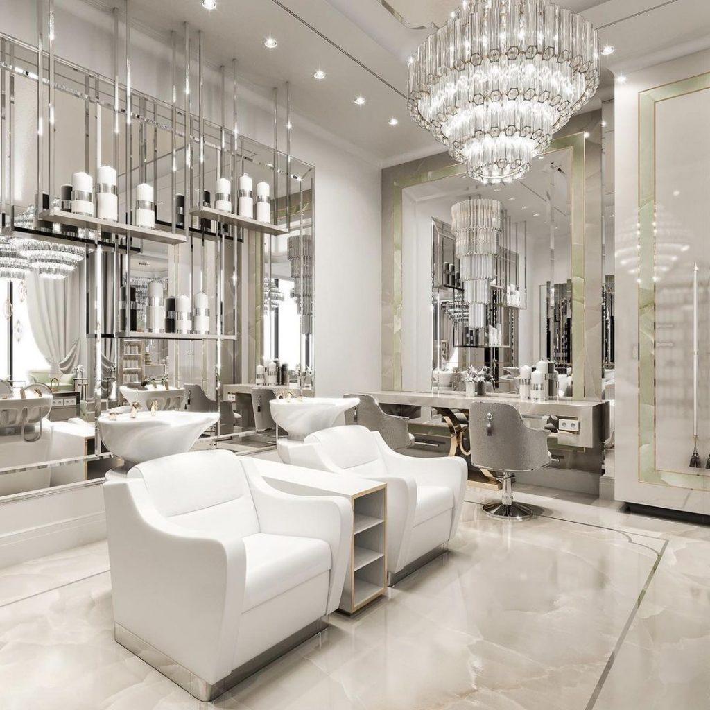 white and silver luxury Dubai Beauty Salon designed by Caroline's Design